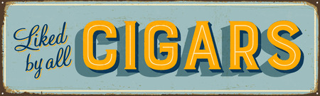 Vintage metal sign - Loved by All Cigars - Vector EPS10. Grunge and rusty effects can be easily removed for a cleaner look.