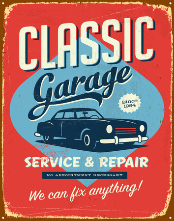 Vintage metal sign - Classic Garage - Vector EPS10. Grunge effects can be easily removed for a brand new, clean sign.
