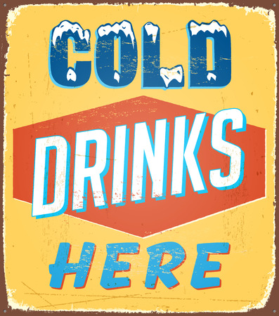 Vintage tin sign - Cold Drinks Here - Vector EPS10. Grunge effects can be removed. Çizim