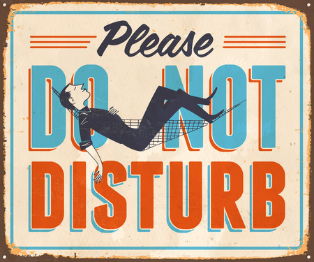 Vintage Metal Sign - Please Do Not Disturb - Vector EPS10. Grunge effects can be easily removed for a cleaner look. Çizim
