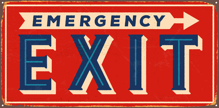 Vintage metal sign -  Emergency Exit - Vector EPS10. Grunge and rusty effects can be easily removed for a cleaner look