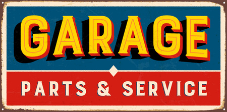 Vintage metal sign - Garage Parts & Service - Vector EPS10. Grunge and rusty effects can be easily removed for a cleaner look. Çizim