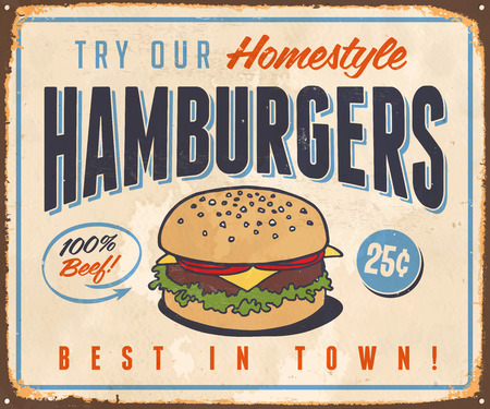 Vintage Metal Sign - Try Our Homestyle Hamburgers - Vector EPS10. Grunge effects can be easily removed for a brand new, clean design.