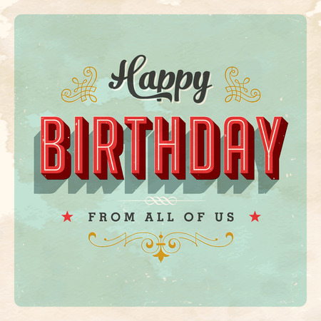 Vintage Birthday Card - Vector EPS10. Grunge effects can be easily removed for a brand new, clean sign. Çizim