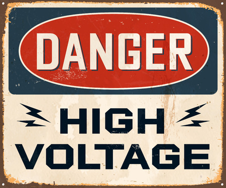 Vintage Metal Sign - Danger High Voltage - Vector EPS10. Grunge effects can be easily removed for a cleaner look.