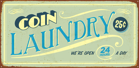 Vintage tin sign - Coin Laundry - Vector EPS10. Vector EPS10. Grunge effects can be easily removed. Çizim