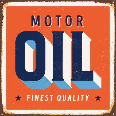 Vintage metal sign - Motor Oil - Vector EPS10. Grunge and rusty effects can be easily removed for a cleaner look. Çizim