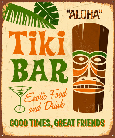 imperfections: Vintage metal sign - Tki Bar - Vector EPS10. Grunge effects can be easily removed.
