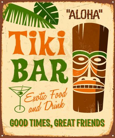 Vintage signo de metal - Tki Bar - Vector EPS10. Los efectos de grunge se pueden quitar fácilmente.