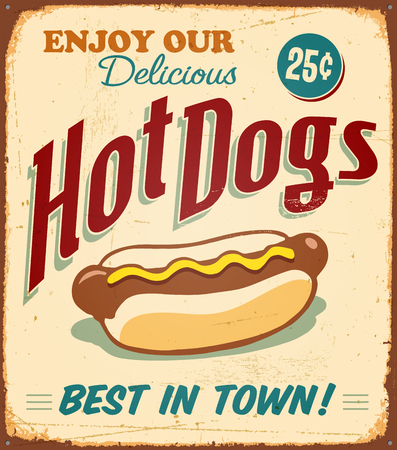 Vintage Hot Dogs Metal Sign - Vector EPS10. Grunge effects can be easily removed.