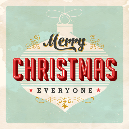 Vintage Christmas Card - Vector. Grunge effects can be easily removed for a brand new, clean sign.