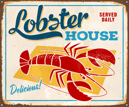 Vintage Metal Sign - Lobster House - Vector. Grunge effects can be easily removed for a cleaner look.  イラスト・ベクター素材