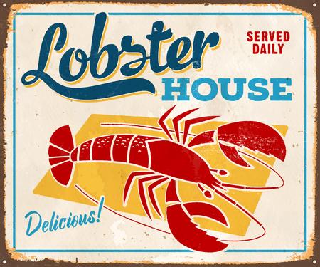 Vintage metalen bord - Lobster House - Vector. Grunge-effecten kunnen eenvoudig worden verwijderd voor een schonere uitstraling.
