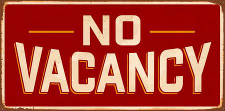 Geen vacature vintage metalen bord met realistische roest en gebruikte effecten.