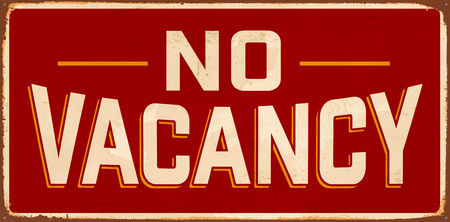 No Vacancy Vintage Metal Sign with realistic rust and used effects. Vektorové ilustrace
