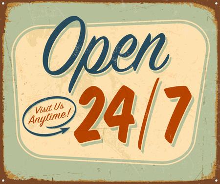 Vintage metalowy znak - otwarty 24/7 - Vector Grunge efekty można usunąć. Ilustracje wektorowe