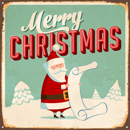 Vintage Metal Sign - Merry Christmas - Vector  Grunge effects can be easily removed for a brand new, clean design.