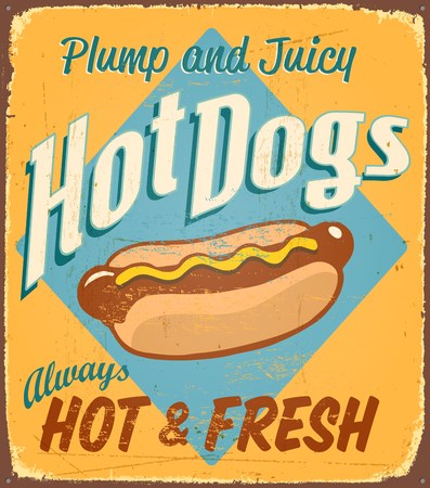 Vintage tin sign - Hot Dogs - Vector Grunge effects can be removed.