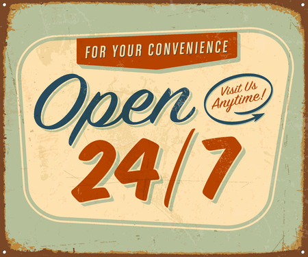 imperfections: Vintage metal sign - Open 247 - Vector  Grunge effects can be removed. Illustration