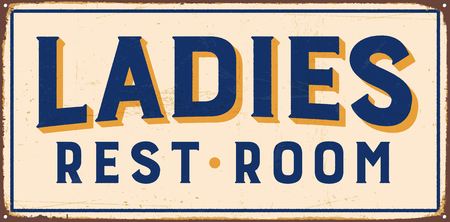 Vintage metal sign - Ladies Rest Room - Vector EPS10. Vector EPS10. Grunge effects can be Easily removed.
