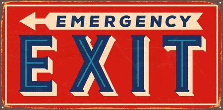 Vintage metal sign - Emergency Exit on the Left - Vector EPS10. Vector EPS10. Grunge effects can be Easily removed. Çizim