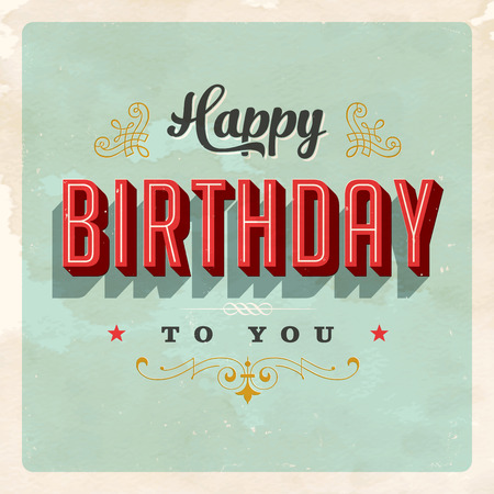 Vintage Happy Birthday Card - Vector EPS10. Grunge effects can be Easily removed for a brand new, clean sign.