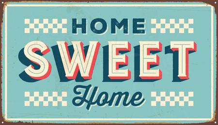 Vintage metalen teken - Home Sweet Home - Vector EPS10. Vector EPS10. Grunge-effecten kunnen eenvoudig worden verwijderd. Stock Illustratie
