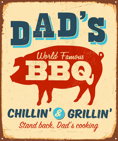 Vintage metal sign - Dad's World Famous BBQ - Vector EPS10. Vector EPS10. Grunge effects can be Easily removed. Çizim