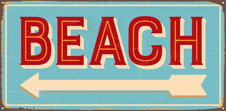 Vintage metal sign - Beach on the left - Vector EPS10. Vector EPS10. Grunge effects can be Easily removed. Çizim
