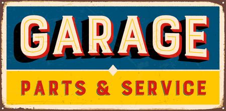 ヴィンテージ メタル ガレージ パーツ ・ サービス - ベクトル EPS10 に署名します。ベクトル EPS10。グランジ効果は、簡単に削除することができます  イラスト・ベクター素材