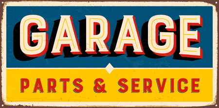 Vintage metal sign - Garage Parts & Service - Vector EPS10. Vector EPS10. Grunge effects can be Easily removed.