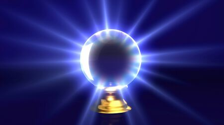 mystery crystal ball with lens flare background. Representing the mystery & fortune idea. photo