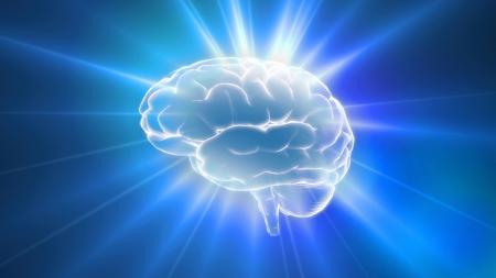 cerebro humano: Azul bengalas esquema del cerebro es la mejor manera para cualquier médico theme.IQ concepto, la idea de procesamiento de la CPU.