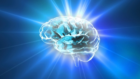 zenuwcel: Blue Brain lens flare is de beste manier voor een medische theme.IQ concept, het idee van de CPU processing.