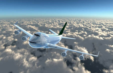 aircraft landing: a airplane flying in the sky, provide a travel and airline services concept.