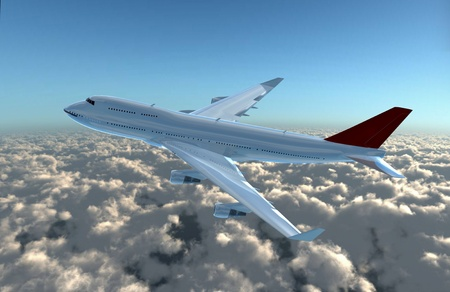 a airplane flying in the sky, provide a travel and airline services concept.  photo
