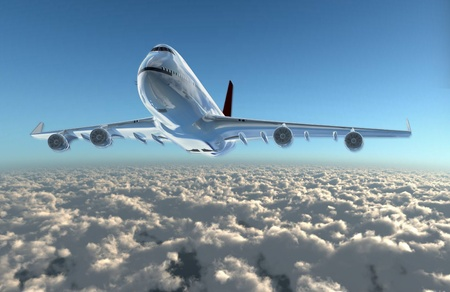 airplane landing: a airplane flying in the sky, provide a travel and airline services concept.