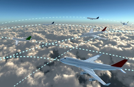 a airplane flying in the sky, provide a travel and airline services concept.