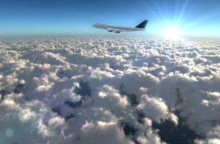 비행: 하늘에 비행 비행기, 여행, 항공 서비스 개념을 제공합니다.
