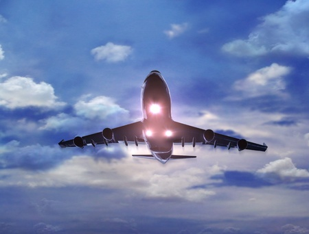airways: a airplane flying in the sky, provide a travel and airline services concept.