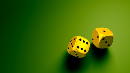 gold dice at green background wide Stock Photo - 11423425