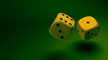 gold dice at green background Stock Photo - 11423408