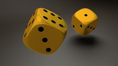 gold dice closeup photo