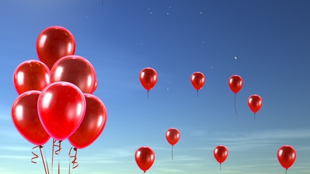 red balloons: balloon in the sky