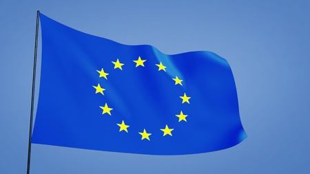 euro flag in the clear blue sky photo