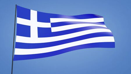 Greece flag in the clear blue sky photo