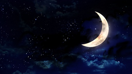 the beauty moon in the night sky Stock Photo - 12403414