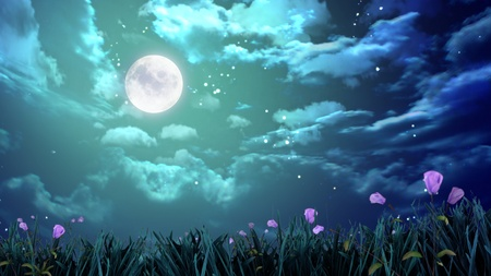 night sky and stars: the beauty moon in the night sky Stock Photo