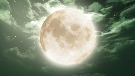 the beauty moon in the night sky Stock Photo