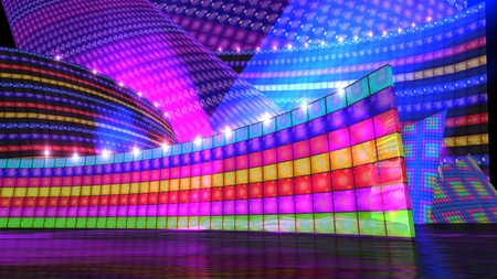 El fondo del escenario para la m�sica disco decorado virtual photo